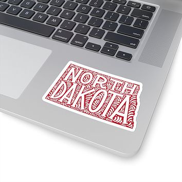 North Dakota State Shape Sticker Decal - Red