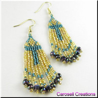 Egyptian Ankh Beadwork Seed Bead Earrings in Teal and Gold