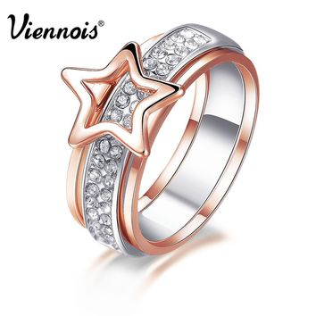 New Rose Gold & Silver Color Star Rings for Women Full Rhinestone Paved Female Finger Ring Multi functional Jewelry