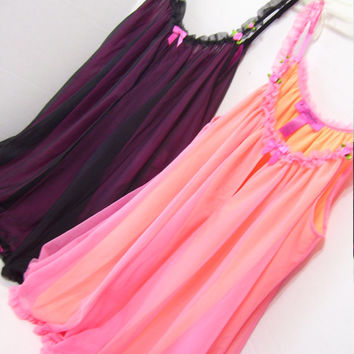 Women's Nightgown Baby Doll Black and Pink  Double Layer Full and Flirty Betsey Johnson