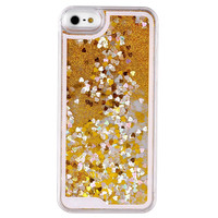 GOLD GLITTER HEART IPHONE CASE