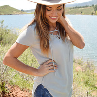High Desert Lace Up Top Sage