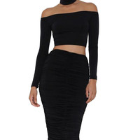 Sleeved Off Shoulder Choker Crop Top