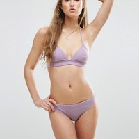 ASOS Mix and Match Micro Triangle Bikini Top in Rib at asos.com