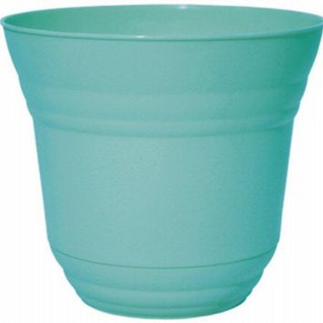 "Robert Allen PIM01220 Traverse Planter with Attached Saucer, 12"", Surf Blue"