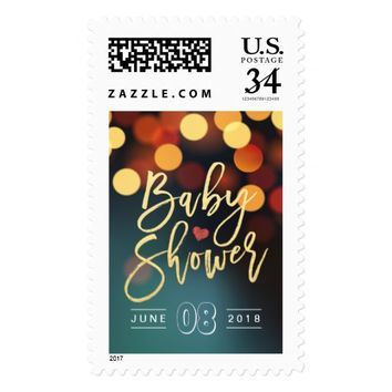 Teal Gold Bokeh Glitter String Lights Baby Shower Postage