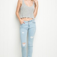 LIGHT WASH HIGH-RISE DISTRESSED SKINNY JEANS
