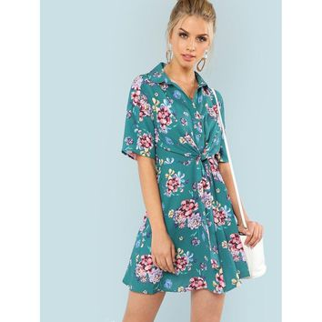 Flower Print Knot Front Button Up Dress
