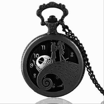 New Fashion Tim Burton's The Nightmare Before Christmas Sally Jack Quartz Pocket Watch Necklace Pumk Mens Womens Xmas Gift