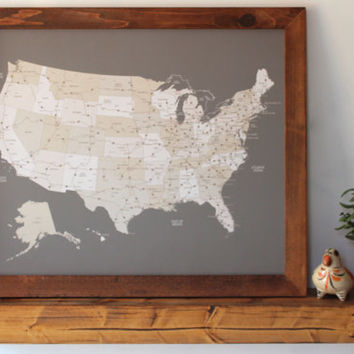 United States Push Pin Travel Map with Wood Frame 20x24 • Anniversary Gift • Valentine's Day Romantic Gift for Him Her Parents
