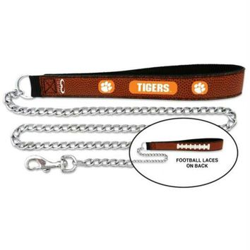 DCCKT9W Clemson Tigers Football Leather and Chain Leash