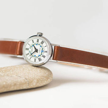Very small floral wristwatch for women, micro watch silver shade, petite lady watch, classic tiny watch Seagull, genuine leather strap new