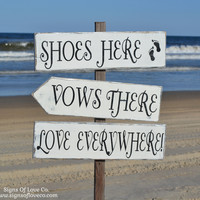 Directional Beach Wedding Signs Large Rustic Shoes Here Vows There Love Everywhere Arrows Outdoor Party Weddings Stake