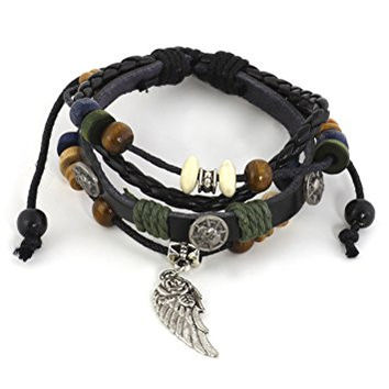 Skulls and Wing Charm Leather Bracelet Wooden Beaded Cuff BD62 Bangle Fashion Jewelry