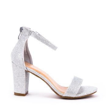 Ankle Strap Mid Chunky Heel (SILVER)