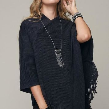 Striped Knit Poncho in Black