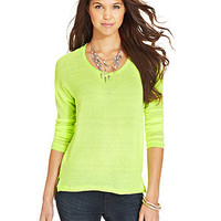 Self Esteem Juniors' Lace-Panel High-Low Knit Top