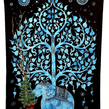Elephant Tree of life tapestry BLUE Elephant Wall hanging New Age Dorm Tapestry Hippy Throw Bedspread Curtain Beach Coverlet Hippie Décor
