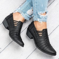 Strappy Faux Leather Booties - Black