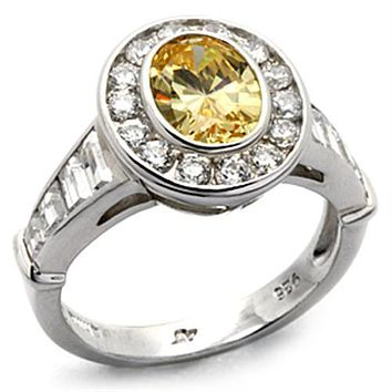A Perfect Bezel Set 1.5CT Oval Cut Yellow Topaz Halo Russian Lab Diamond Engagement Ring