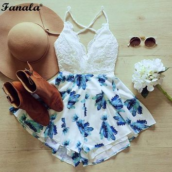 Womens High Waisted Playsuit Romper