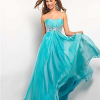 Blue Mist Chiffon Strapless Rhinestone Empire Waist Prom Dress - Unique Vintage - Cocktail, Pinup, Holiday & Prom Dresses.