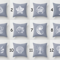 Throw Pillow Cover 17% Off Seashells Beach House - Blue-Grey White - 16x16, 18x18, 20x20 - Original Design Pillow Case Home Décor by Adidit