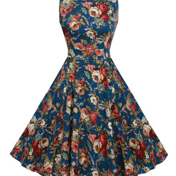 Summer Dress Sleeveless Tunic Casual Retro Vintage 1950s 60s Big Swing Midi Long Floral Dresses