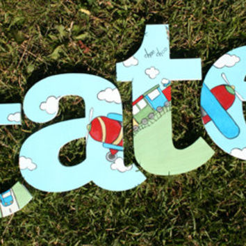 Transportation Wooden Wall Name Letters / Hangings, Hand Painted for Boys Rooms, Play Rooms and Nursery Rooms