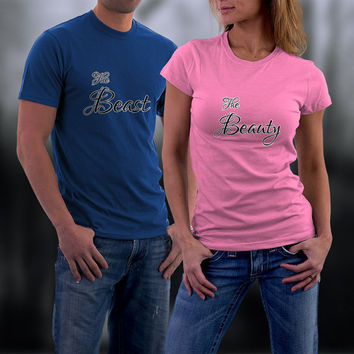 Couples Shirts, Wedding or Anniversary Personalized Couple Shirts. Beauty and Beast Match Shirts