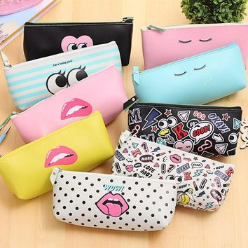 DCCKL72 Cute Modern girl PU leather school pencil case for girl Kawaii Candy color Lip Dot pen bag stationery pouch school office supply