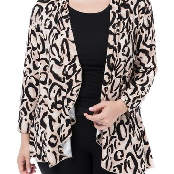 Trendy Chicwe Women's Waterfall Open Front Plus Size Printed Casual Cardigan Jacket Large Size Big Size 1X-4X AT_94_13