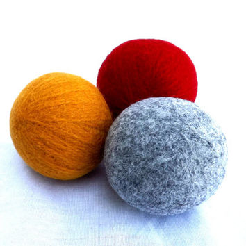 Felted Wool Dryer Balls - Red Yellow and Grey Eco-Friendly Laundry Balls - Chemical Free Laundry - Money Saving - cat toy - Wool Dryer Balls