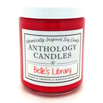 Belle's Library Candle - Anthology Candles, Disney Candles, Scented Soy Candle, 8 oz Jar