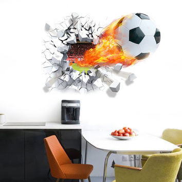 Football Soccer ball through the wall stickers TV background Removable living room bedroom wall decals boys room decoration