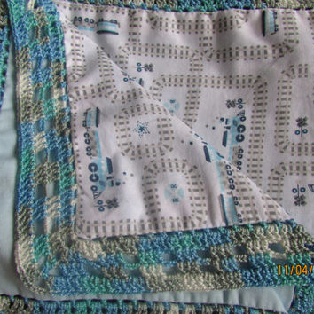 Extra Large Receiving Blanket - Baby Blue and Gray Little Trains- Heirloom Blanket - Crochet Edge