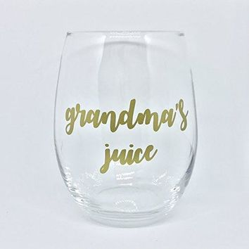 Grandmas Juice Stemless Wine Glass Gift 15oz