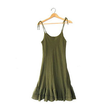 Vintage Cotton Sun Dress. Spaghetti strap dress. Olive Green Dress. Hippie Boho Slip Dress.