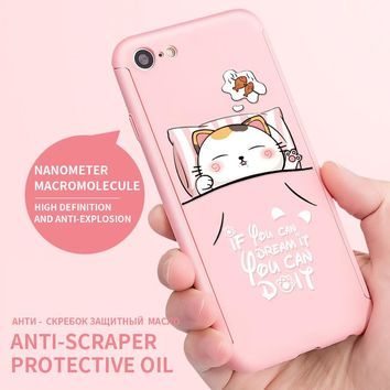 ASINA 360 Degree Full Coverage Cartoon Case For iPhone 7 Capa Hard PC Cat Patterned Shell For iPhone 7 Plus With Cat Ring Holder