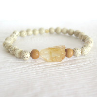 Lotus Seed and Sandalwood Bohemian Bracelet with Citrine Nugget, Spiritual Yoga Inspired Jewelry, Organic, Earthy, Unique Natural Unisex