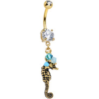 Handcrafted Clear CZ Gold Plated Frisky Seahorse Dangle Belly Ring | Body Candy Body Jewelry