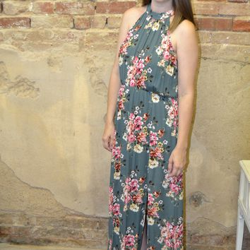 Forget Me Not Floral Print Maxi Dress