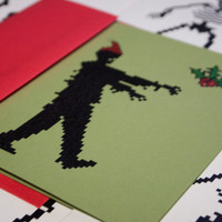 Christmas Zombie cards set of 4, 8 bit zombies mistletoe holiday