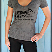 Womens Workout V-Neck Tee. I Lift My Eyes Up To The Hills Bible Verse. Motivational Exercise Apparel. Christian Clothing. Burnout Top.