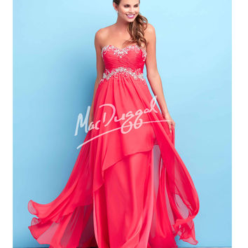 Elegant Cherry Red Strapless Gown