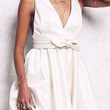 White Sleeveless Deep V Neck Flare Dress