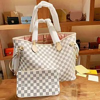 Louis Vuitton LV Classic Women Shopping Bag Leather Handbag Shoulder Bag Purse Wallet Set Two Piece