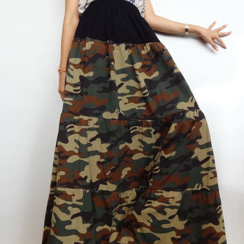 Women Casual Gypsy Ruffle Long Skirt, Bohemian ,Green CAMO Print Cotton Blend (Skirt *B10).