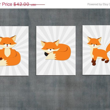 Fox Nursery Wall Art Print / baby boy room artwork decor / 8x10 inch / 3 piece set / orange gray / woodland animals / kids art