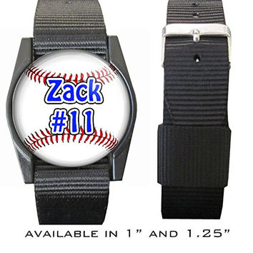 "Personalized Baseball Wristband/bracelet with Your Name & Number 1.25"", PERSONALIZE BY EMAIL"